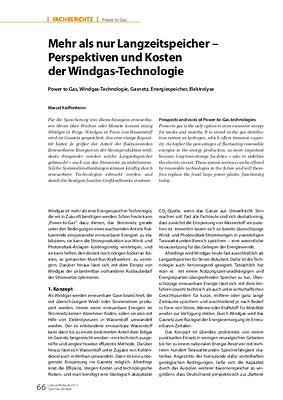Mehr als nur Langzeitspeicher – Perspektiven und Kosten der Windgas-Technologie
