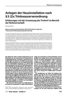 Anlagen der Hausinstallation nach § 3 (2)c Trinkwasserverordnung – Erfahrungen mit der Umsetzung der TrinkwV im Bereich der Wohnwirtschaft