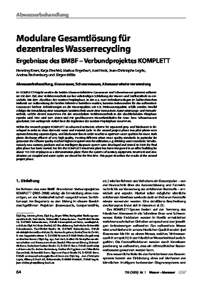 Modulare Gesamtlösung für dezentrales Wasserrecycling