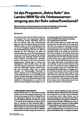 """Ist das Programm """"Reine Ruhr"""" des Landes NRW für die Trinkwasserversorgung aus der Ruhr zukunftsweisend?"""