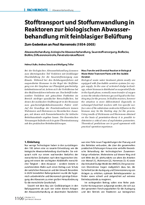 Stofftransport und Stoffumwandlung in Reaktoren zur biologischen Abwasserbehandlung mit feinblasiger Belüftung