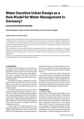 Water Sensitive Urban Design as a Role Model for Water Management in Germany?