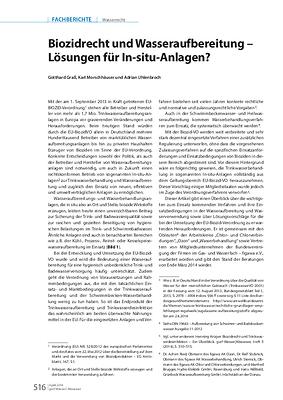 Biozidrecht und Wasseraufbereitung – Lösungen für In-situ-Anlagen?