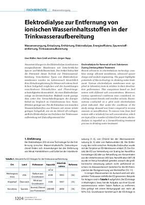 Elektrodialyse zur Entfernung von ionischen Wasserinhaltsstoffen in der Trinkwasseraufbereitung