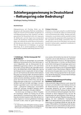 Schiefergasgewinnung in Deutschland – Rettungsring oder Bedrohung?