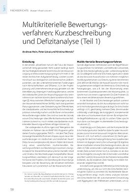 Multikriterielle Bewertungsverfahren: Kurzbeschreibung und Defizitanalyse (Teil 1)