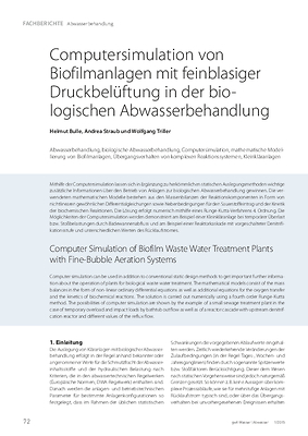 Computersimulation von Biofilmanlagen mit feinblasiger Druck belüftung in der biologischen Abwasserbehandlung
