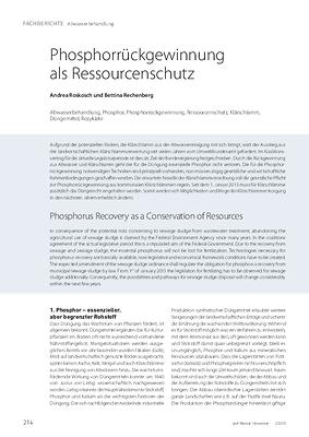 Phosphorrückgewinnung als Ressourcenschutz