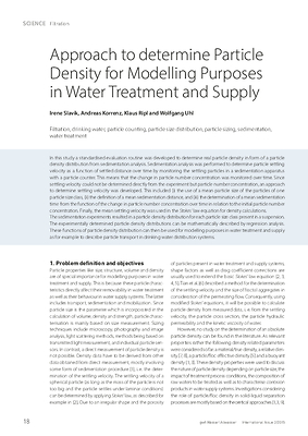 Approach to determine Particle Density for Modelling Purposes in Water Treatment and Supply
