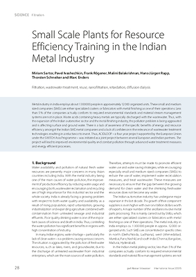 Small Scale Plants for Resource Efficiency Training in the Indian Metal Industry