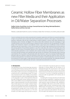 Ceramic Hollow Fiber Membranes as new Filter Media and their Application in Oil/Water Separation Processes