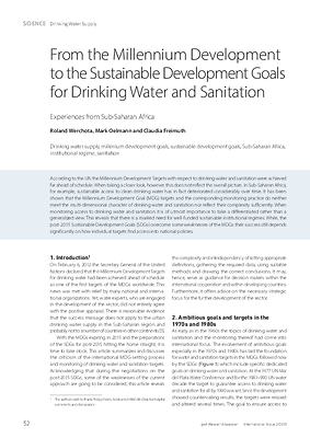 From the Millennium Development to the Sustainable Development Goals for Drinking Water and Sanitation