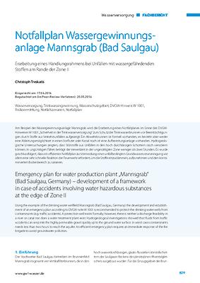 Notfallplan Wassergewinnungsanlage Mannsgrab (Bad Saulgau)