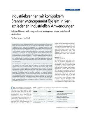 Industriebrenner mit kompaktem Brenner-Management-System in verschiedenen industriellen Anwendungen