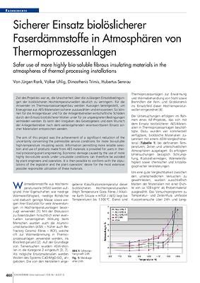 Sicherer Einsatz biolöslicherer Faserdämmstoffe in Atmosphären von Thermoprozessanlagen
