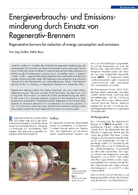 Energieverbrauchs- und Emissionsminderung durch Einsatz von Regenerativ-Brennern