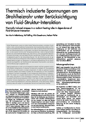 Thermisch induzierte Spannungen am Strahlheizrohr unter Berücksichtigung von Fluid-Struktur-Interaktion