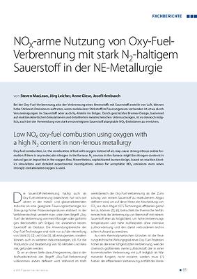 NOX-arme Nutzung von Oxy-Fuel-Verbrennung mit stark N2-haltigem Sauerstoff in der NE-Metallurgie