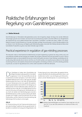 Praktische Erfahrungen bei Regelung von Gasnitrierprozessen