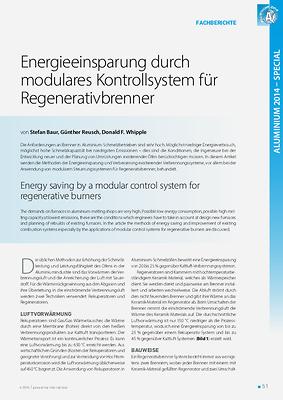 Energieeinsparung durch modulares Kontrollsystem für Regenerativbrenner