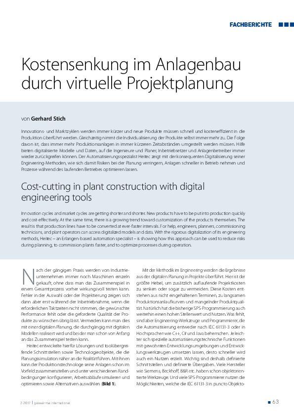 Kostensenkung im Anlagenbau durch virtuelle Projektplanung