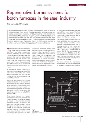 Regenerative burner systems for batch furnaces in the steel industry