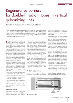 Regenerative burners for double-P radiant tubes in vertical galvanizing lines