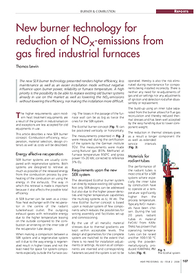New burner technology for reduction of NOx-emissions from gas fired industrial furnaces