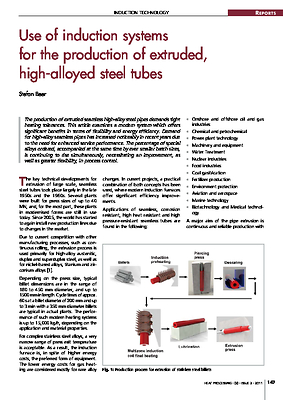 Use of induction systems for the production of extruded, high-alloyed steel tubes