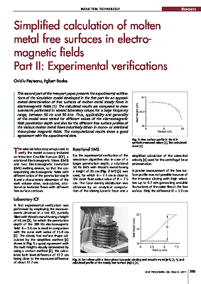 Simplified calculation of molten metal free surfaces in electro-magnetic fields Part II: Experimental verifications