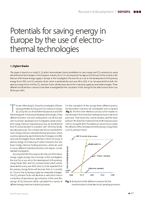 Potentials for saving energy in Europe by the use of electrothermal technologies