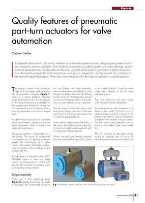 Quality features of pneumatic part-turn actuators for valve automation
