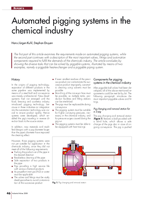Automated pigging systems in the chemical industry