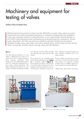 Machinery and equipment for testing of valves