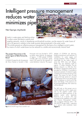 Intelligent pressure management reduces water losses and minimizes pipe breaks