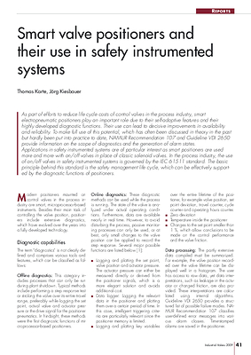 Smart valve positioners and their use in safety instrumented systems