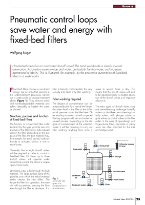Pneumatic control loops save water and energy with fixed-bed filters