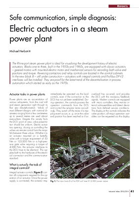 Safe communication, simple diagnosis: Electric actuators in a steam power plant