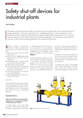 Safety shut-off devices for industrial plants