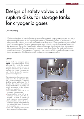Design of safety valves and rupture disks for storage tanks for cryogenic gases