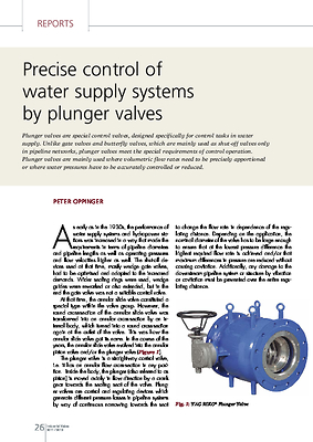 Precise control of water supply systems by plunger valves