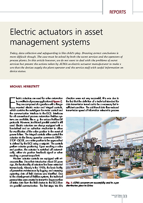 Electric actuators in asset management systems