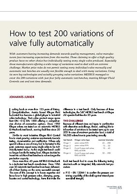 How to test 200 variations of valve fully automatically