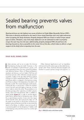 Sealed bearing prevents valves from malfunction