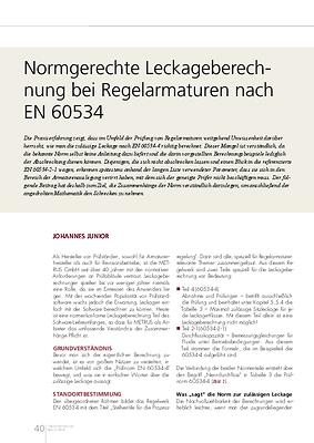 Normgerechte Leckageberechnung bei Regelarmaturen nach EN 60534