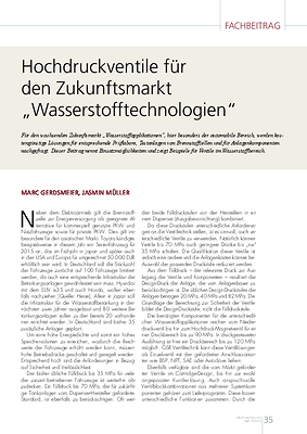 """Hochdruckventile für den Zukunftsmarkt""""Wasserstofftechnologien"""""""