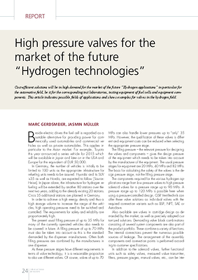 """High pressure valves for the market of the future """"Hydrogen technologies"""""""