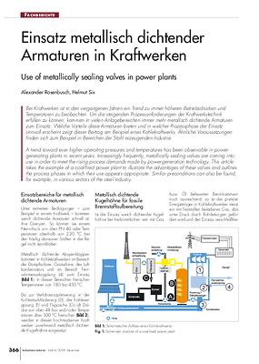 Einsatz metallisch dichtender Armaturen in Kraftwerken