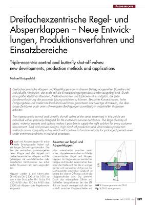 Dreifachexzentrische Regel- und Absperrklappen – Neue Entwicklungen, Produktionsverfahren und Einsatzbereiche