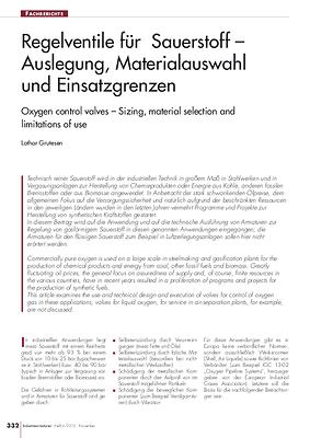 Regelventile für Sauerstoff – Auslegung, Materialauswahl und Einsatzgrenzen